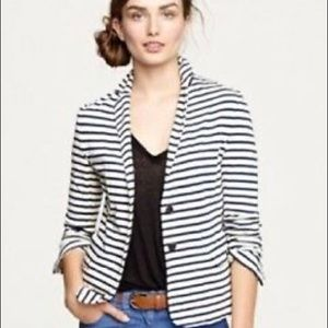 J crew Blue & White Striped Blazer